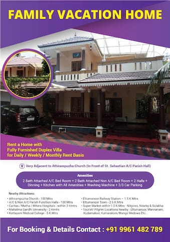 VILLA ON DAILY RENTAL FOR FAMILY AT ATHIRAMPUZHA
