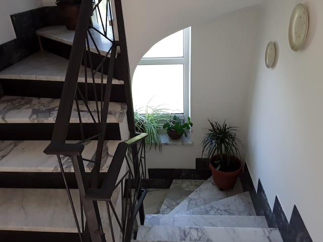 la scalinata in marmo di Carrara