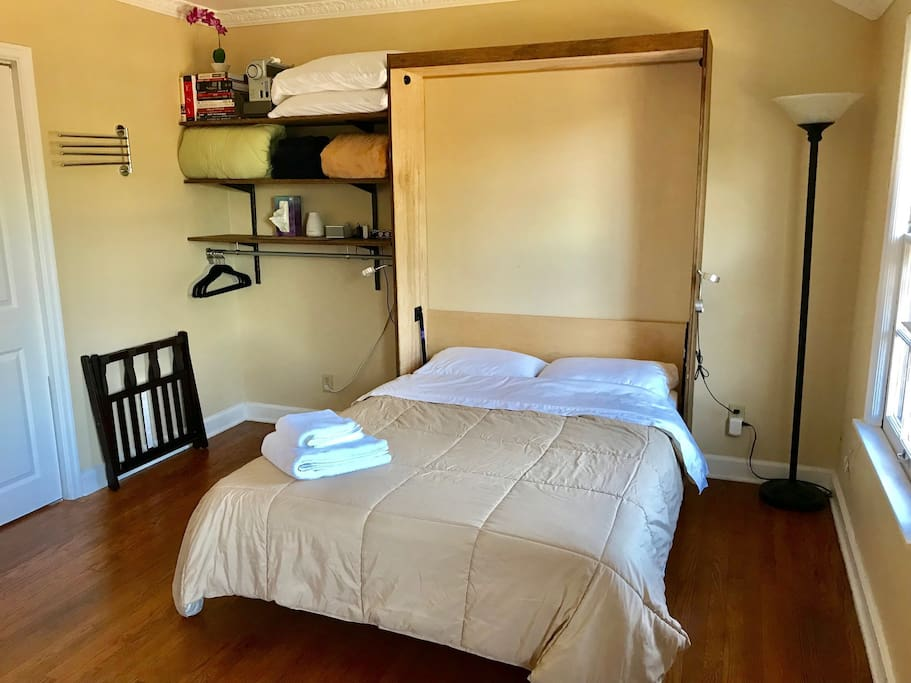 Bed can be left out or tucked away for more space during the day