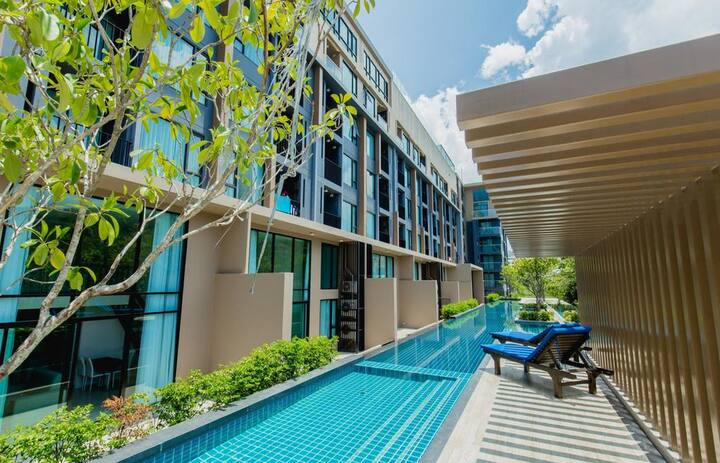 Chic studio mountain view. 3 pools, gym, restaurant ❤️ Surin beach (519)