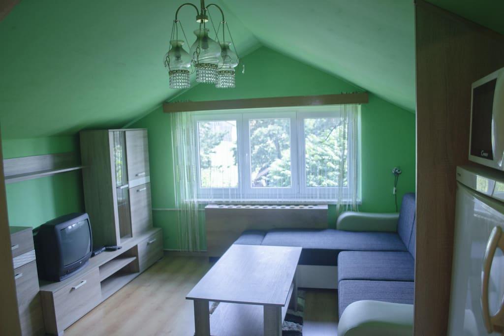 Pokoj s manželskou posteli (rozkládací gauč)