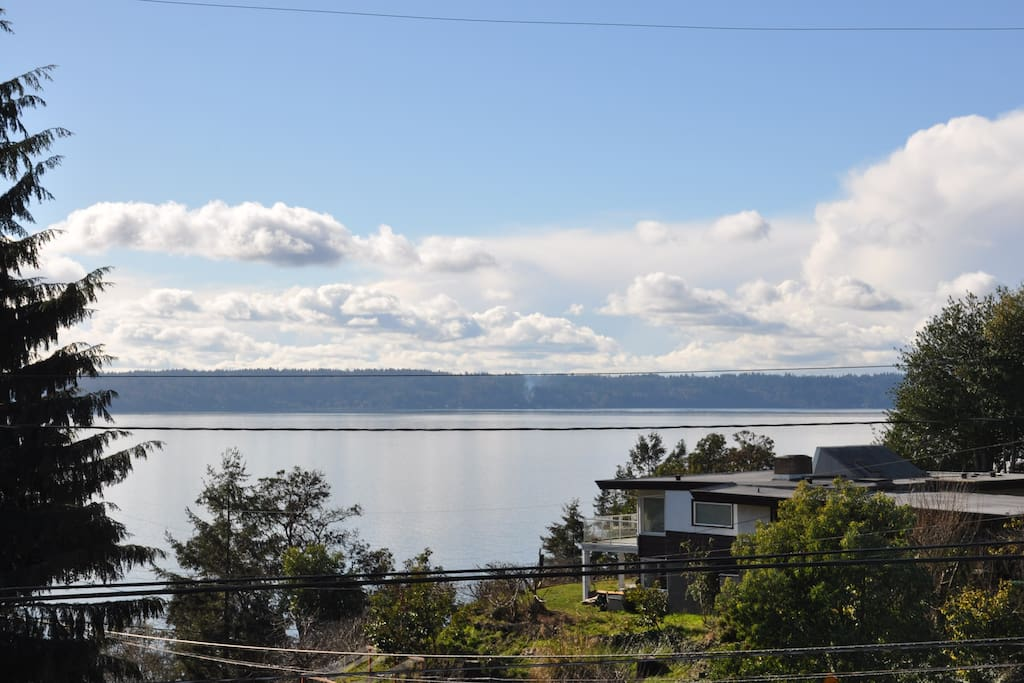The balcony view of Puget Sound.