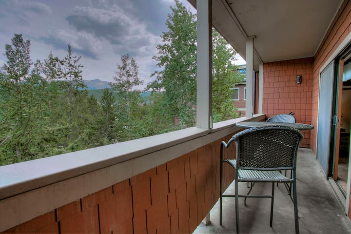 Private balcony with Baldy and downtown views.