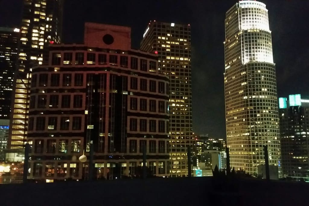 Evening view from rooftop lounge