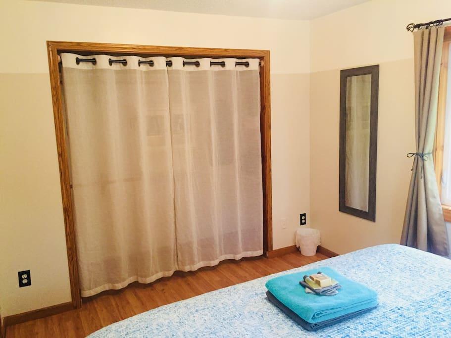 Bedroom 1, closet view.