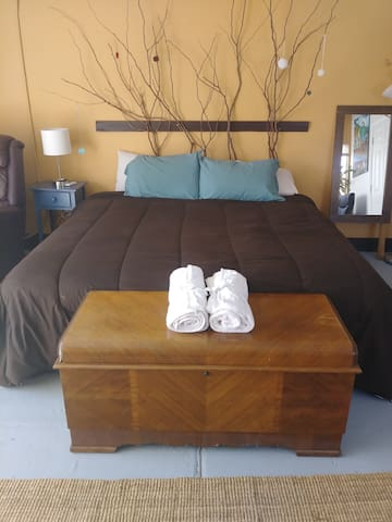 Super comfy king-sized bed!