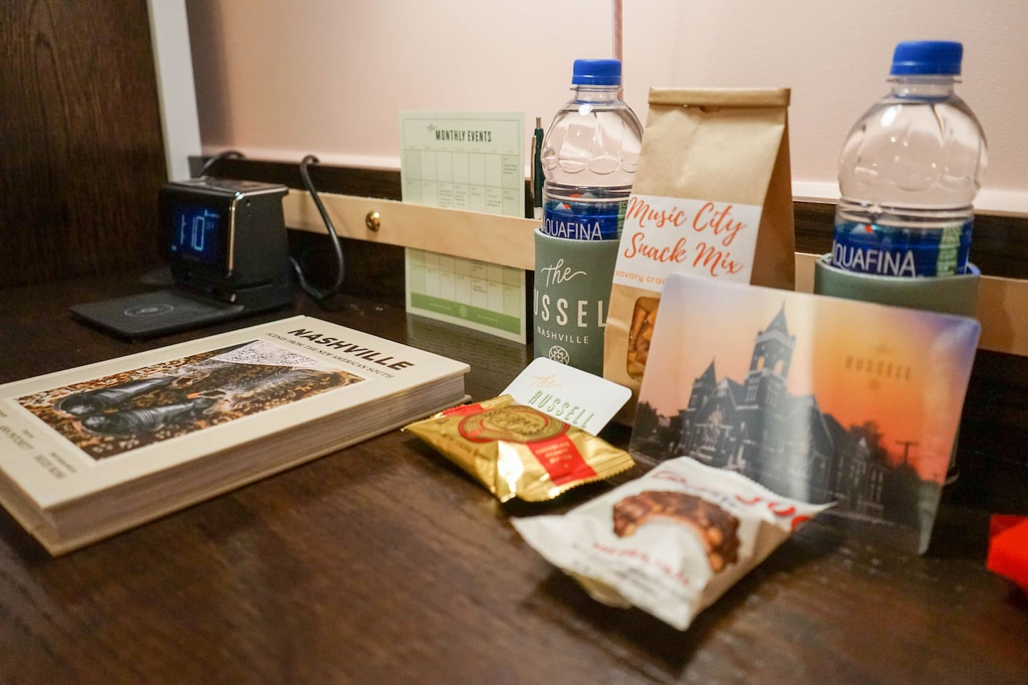 A snack basket as well as a guide for food and events in Nashville comes complementary with every room.