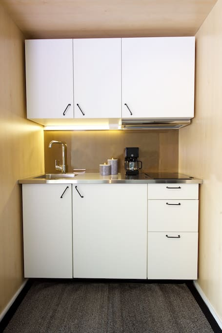 Kitchenette with utilities, refrigerator, microwave and induction stove.