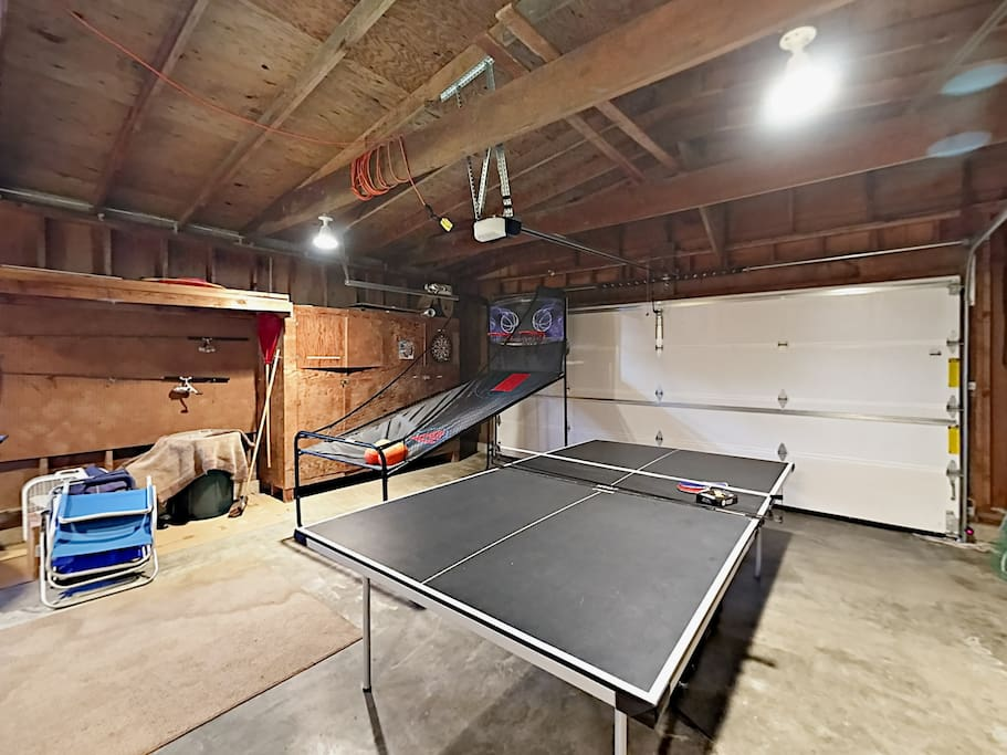 Bring your A-game to the pop-a-shot basketball hoop and ping pong table in the garage.