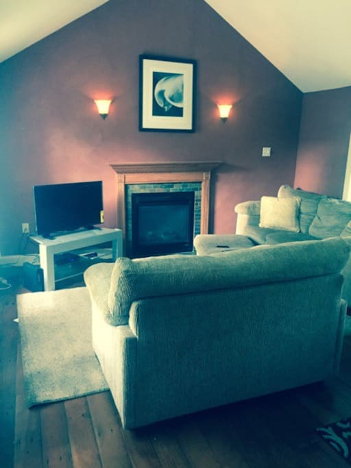 """modern living room with gas fireplace and  42"""" flat screen """"smart"""" tv"""