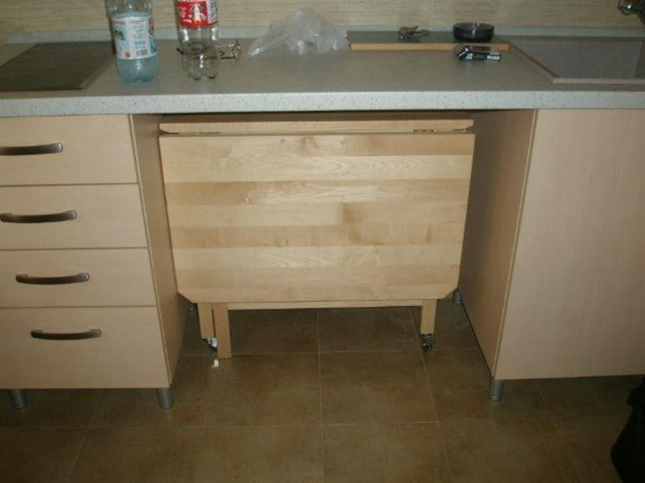 folding table in the kitchen