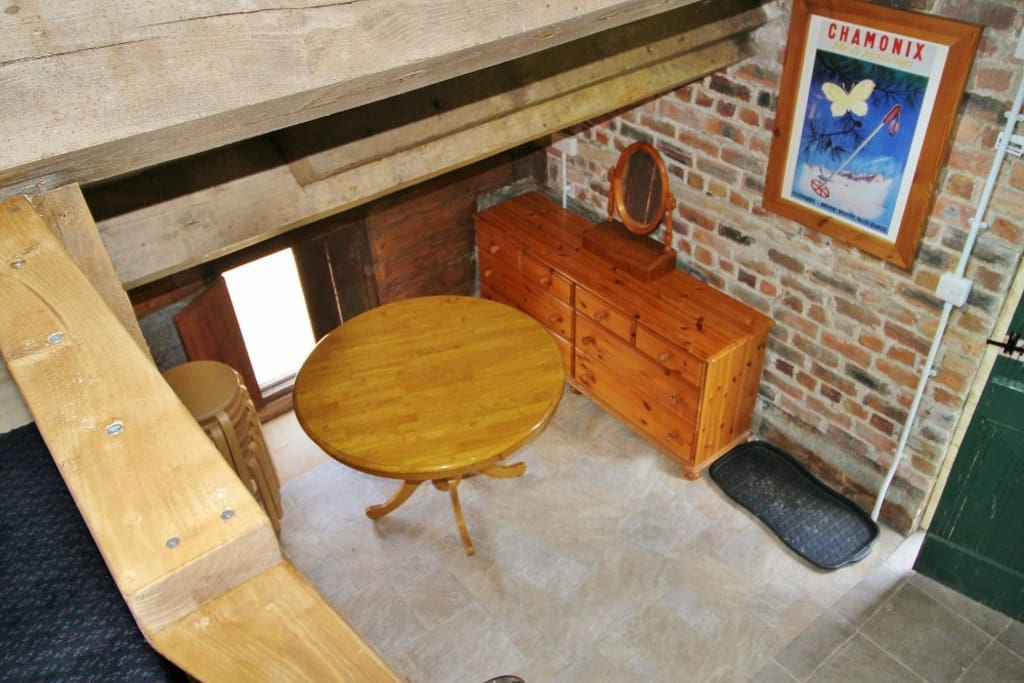 View of dining area from top bunk in bunkhouse Bethan
