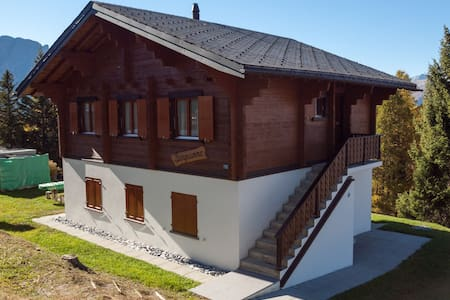Detached chalet at the alm in the car-free village of Rosswald. outstanding view