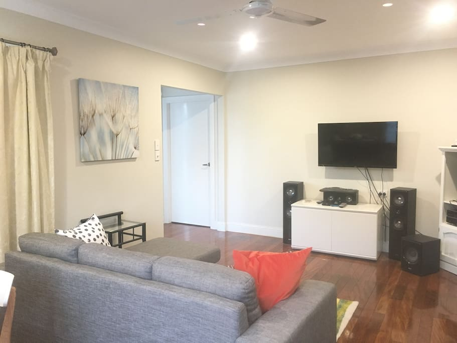 Lounge Dining room . TV with surround sound