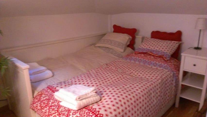 Habitacio amb dos llits individuals que no es poden separar.