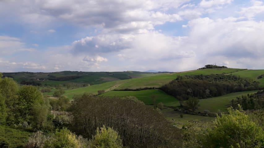The Crete senesi landscape from the common terrace in springtime