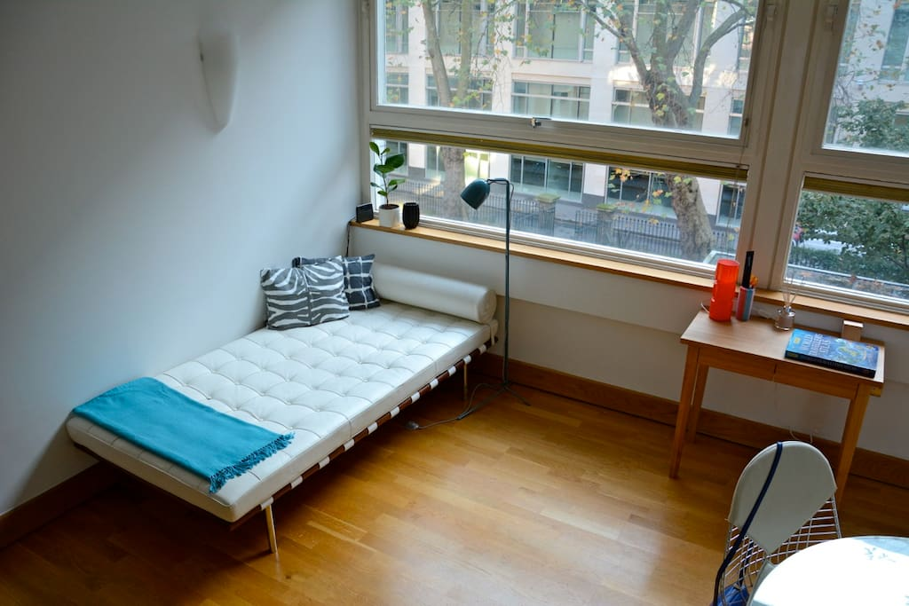 Modern design and features are characteristic of the flat.