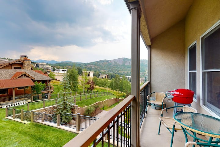 Ski-in/ski-out condo w/ patio and shared pool & hot tub - remote work friendly!