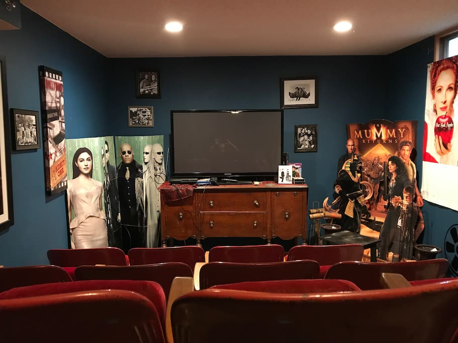 Theater room is ready for you! Many movies to choose from