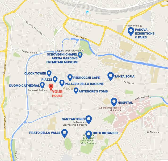 Map of attractions within walking distance.