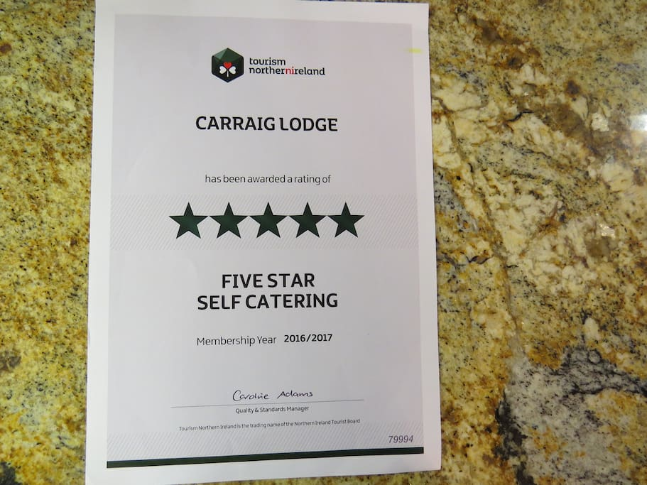 5* Self-Catering Accommodation (Tourism Northern Ireland Cerified)
