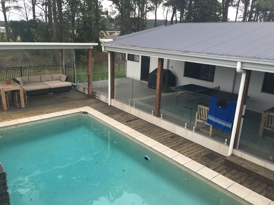 Large pool and covered entertainment area
