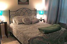 Comfortable, private and spacious bedrooms (2) with Queen beds and private Walk-in Closets (2)
