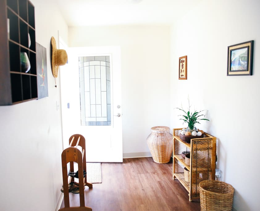 When you walk into the house you will be greeted with minimalism Hawaiian history art and furniture.