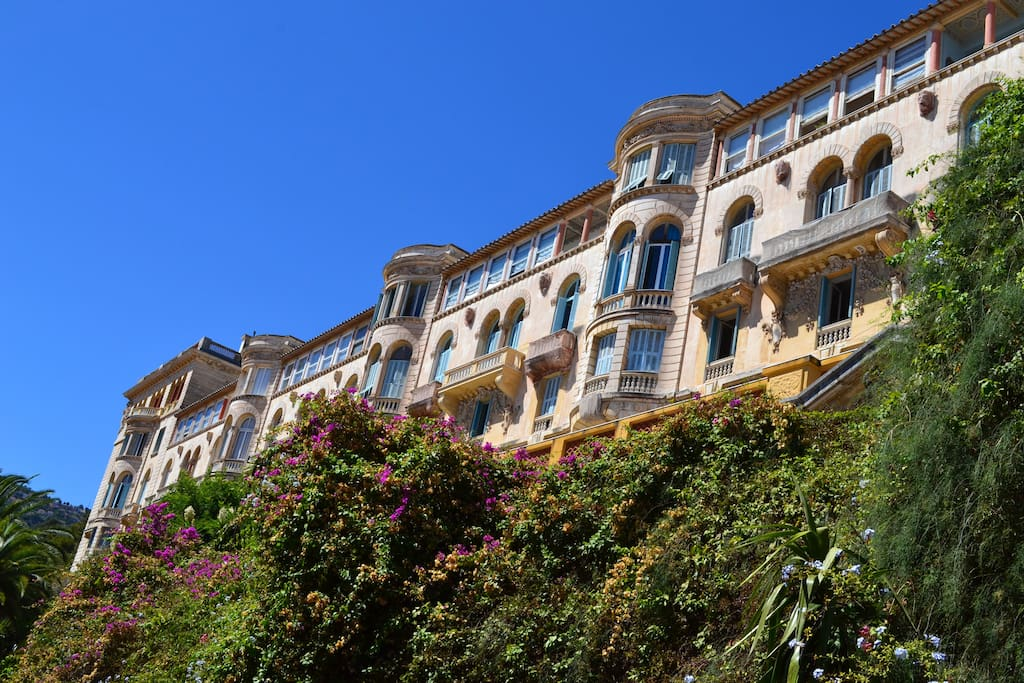 The Riviera Palace colossal, majestic Belle-Epoch architecture with its gargoyles - Overlooking the mediterranean.