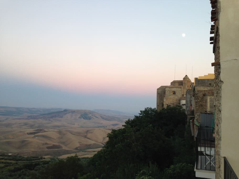 View of S Francesco church from the Casa della Gioia in the walls of the medieval hill-top town of Irsina, near Matera.