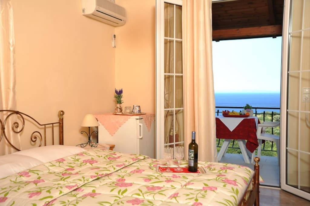 double bed and sea view