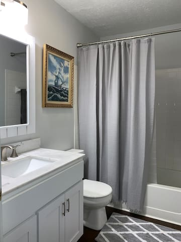 Personal bathroom tub and shower with soap