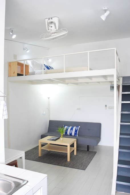 Loft & living area with sofa bed