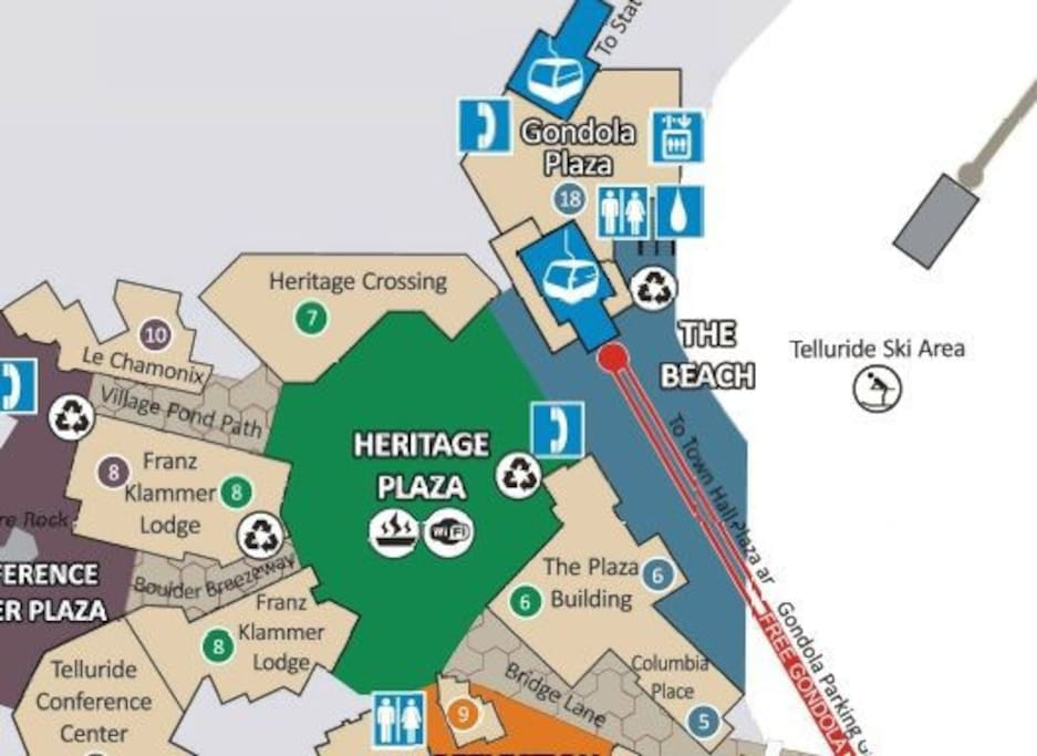 property is at the very center of the resort village by gondola, ski school, etc