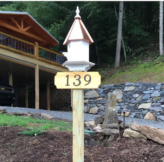 Address post at the bottom of the driveway