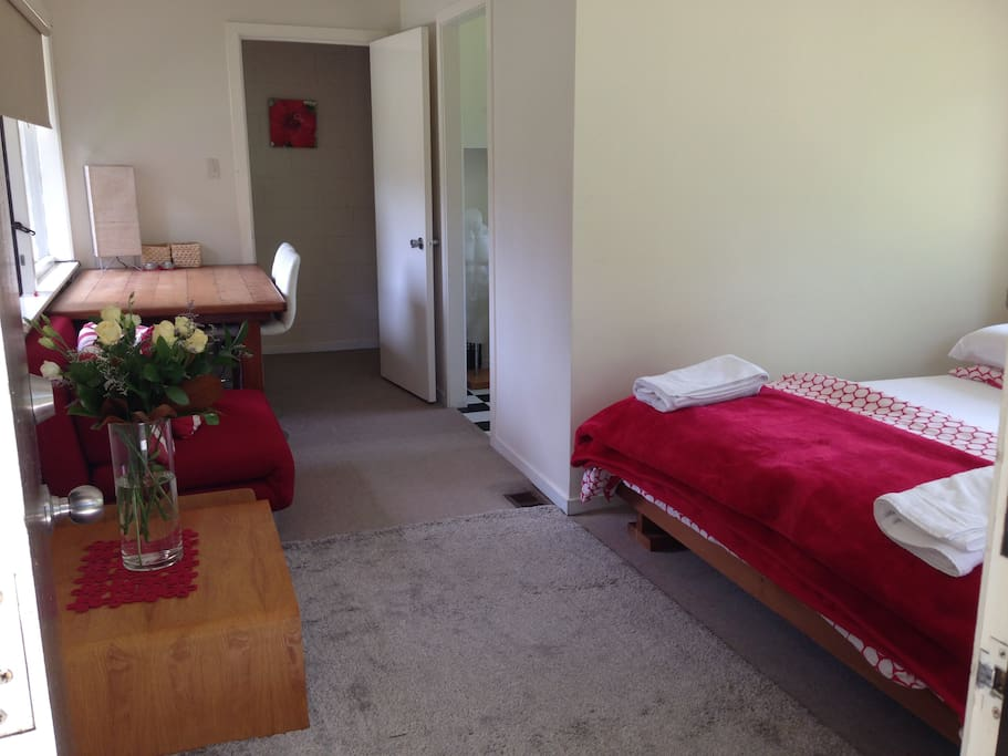 Self-contained unit with kitchenette and bathroom facilities