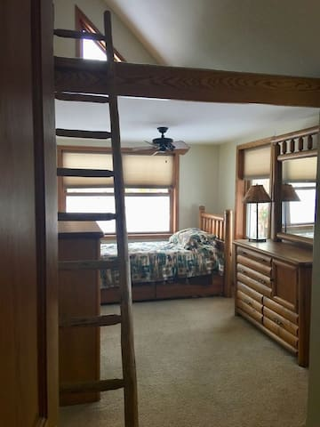 Bedroom downstairs with trundle bed, sleeps 2.