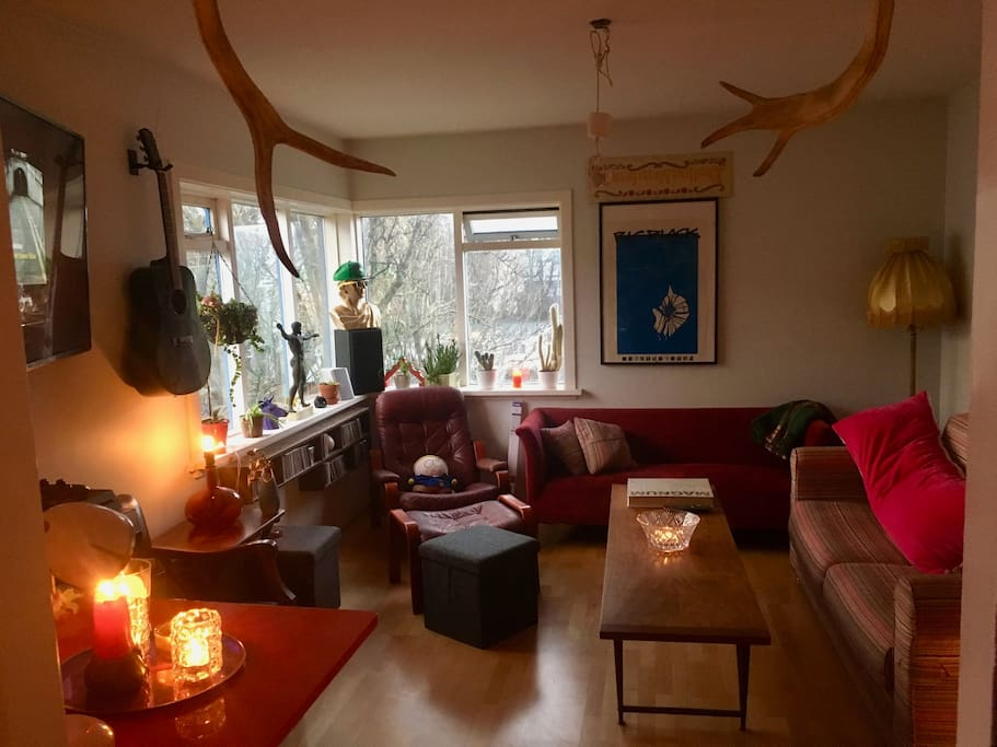 This is the living room bedroom. It's super nice and it has doors and everything, so you'll be private. PS English-speakers: Why is there a space between living and room, but not bed and room?