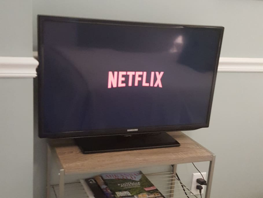 Your own personal TV in the guest room has a Roku with Netflix and more!
