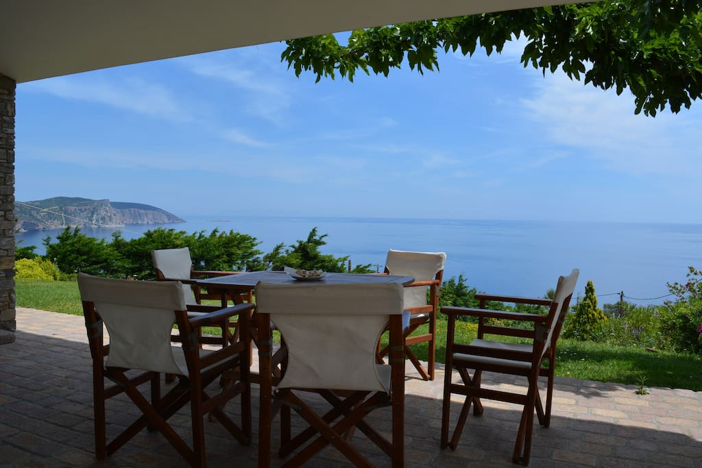 Our Veranda with amazing sea view at Korassida bay