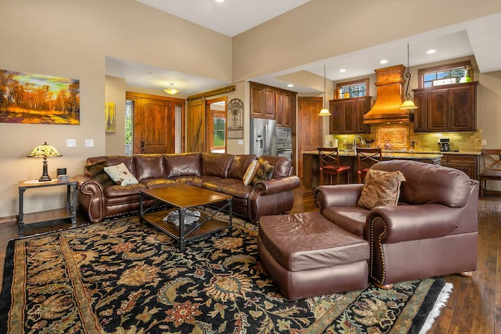 Comfortable leather furniture.