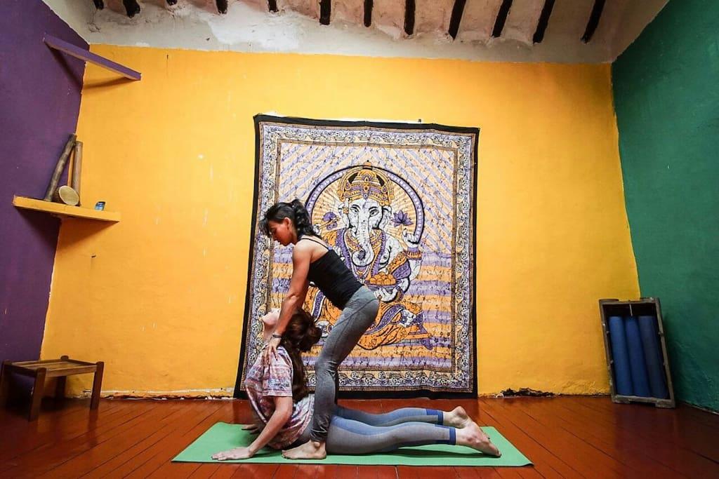 My housemate teaching Yoga at home