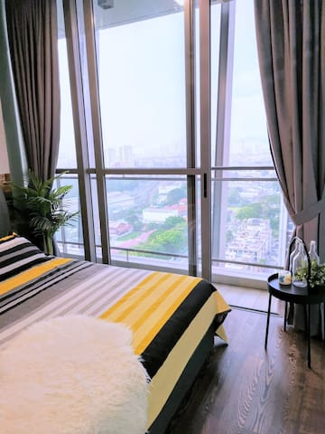 Cozy room with a view in a high rise luxury condo