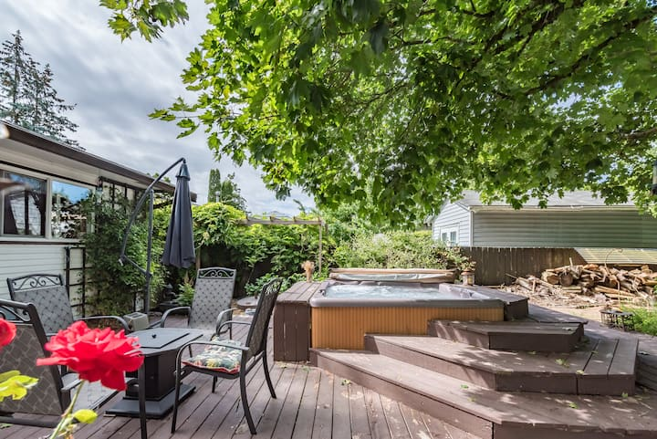 Garden Oasis with Private Hot Tub and Home