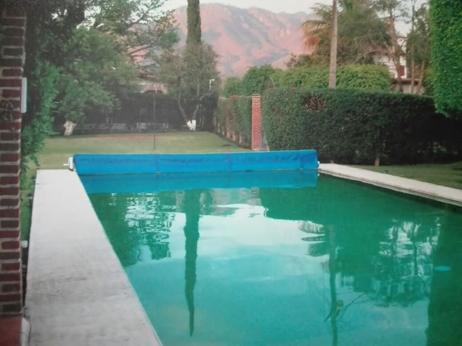 Alberca, jardín
