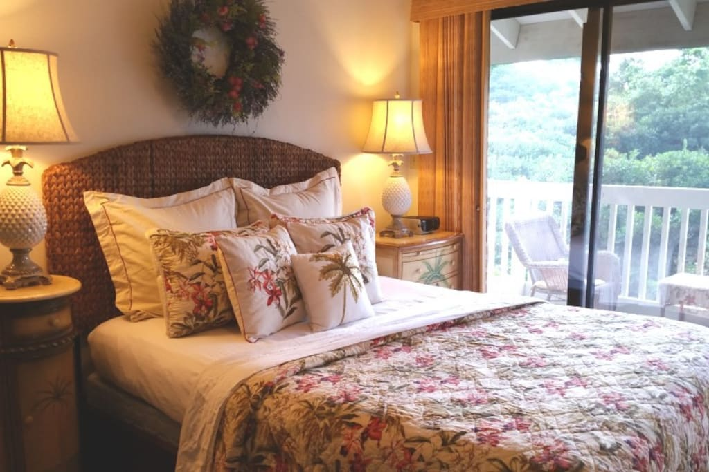 New Tommy Bahama Bedding, and new Pier 1 headboard!