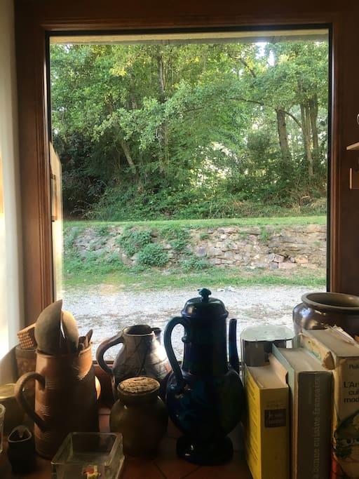 Une vue de la cuisine sur le jardin entourant la maison