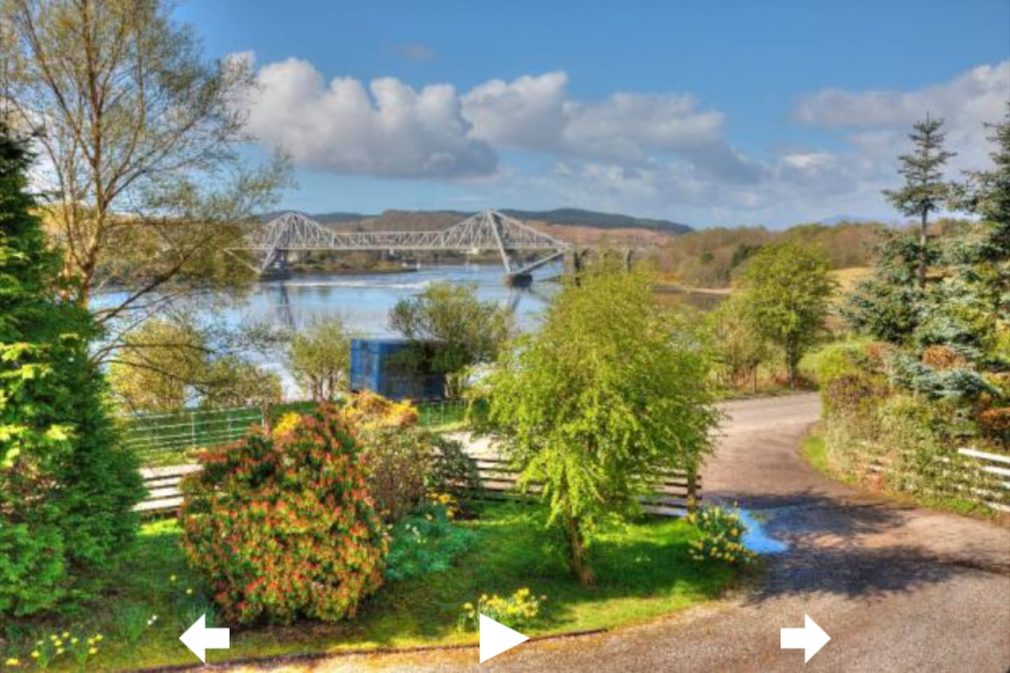 View from the front of the house: Connel Bridge & the Falls of Lora