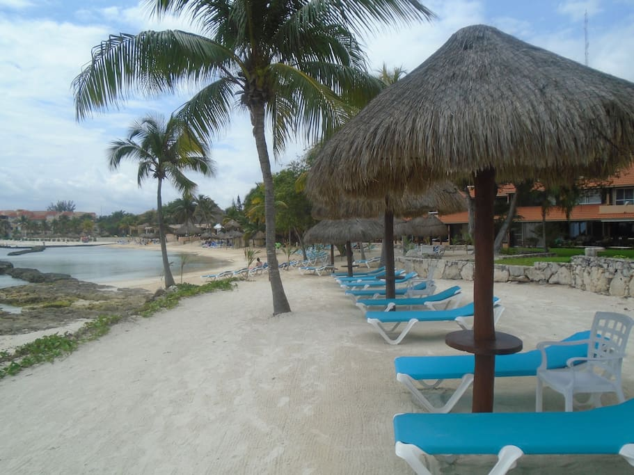 Palapas and loungers galore at pools and beach for your use.