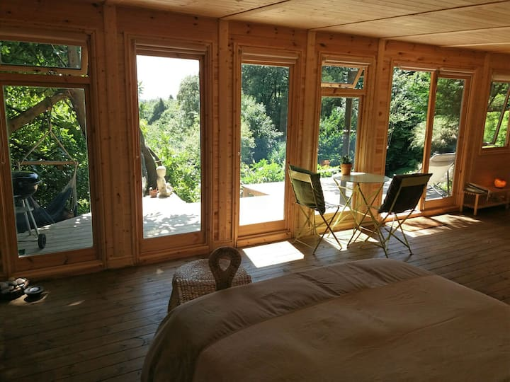 Bright, spacious cabin with sun deck. Great view.
